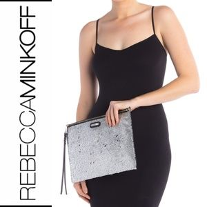 🆕 Rebecca Minkoff Womens Clutch Metallic Silver